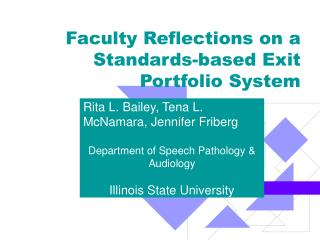 Faculty Reflections on a Standards-based Exit Portfolio System