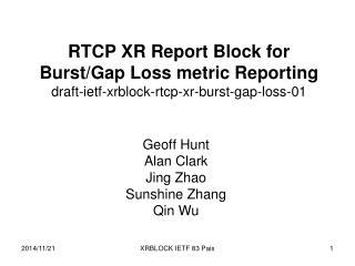 Geoff Hunt Alan Clark Jing Zhao Sunshine Zhang Qin Wu