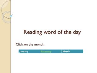 Reading word of the day