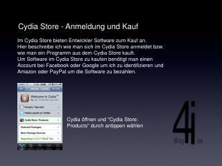 Cydia Store - Anmeldung und Kauf