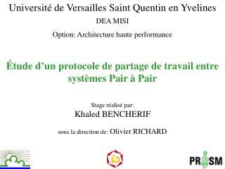 Étude d'un protocole de partage de travail entre systèmes Pair à Pair
