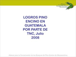 LOGROS PINO ENCINO EN GUATEMALA POR PARTE DE TNC, Julio 2008