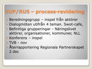 RUP/RUS –  process-revidering