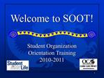 Student Organization  Orientation Training  2010-2011