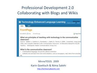 Professional Development 2.0  Collaborating with Blogs and Wikis