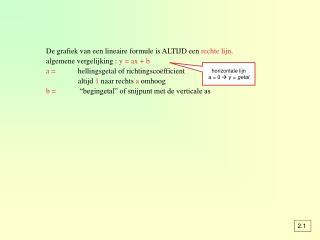 De grafiek van een lineaire formule is ALTIJD een  rechte lijn.
