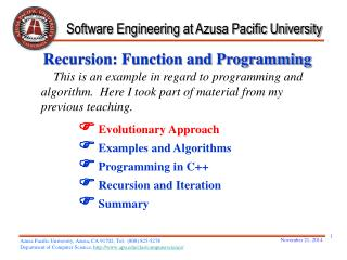Recursion: Function and Programming