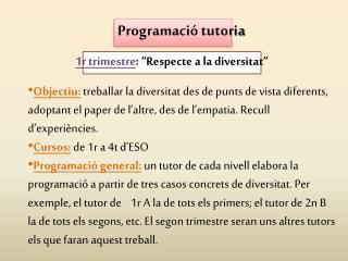 Programació tutoria