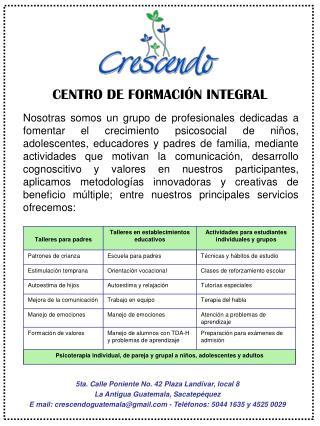 CENTRO DE FORMACIÓN INTEGRAL