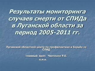 Результаты мониторинга случаев смерти от СПИДа в Луганской области за период 2005-2011 гг.