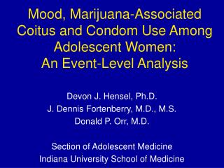 Mood, Marijuana-Associated Coitus and Condom Use Among Adolescent Women: An Event-Level Analysis