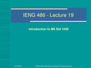 IENG 486 - Lecture 19