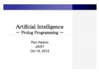 Artificial Intelligence -  Prolog Programming  -