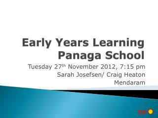 Early Years Learning Panaga School
