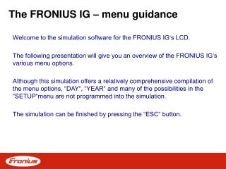 The FRONIUS IG – menu guidance