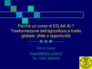 Maria Sassi msassi@eco.unipv.it Tel. 0382-986465