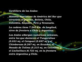 Cordillera de los Andes: