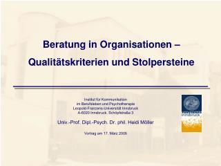 Beratung in Organisationen – Qualitätskriterien und Stolpersteine