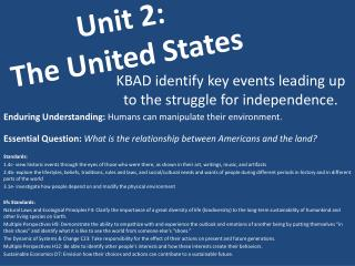 Unit 2:  The United States