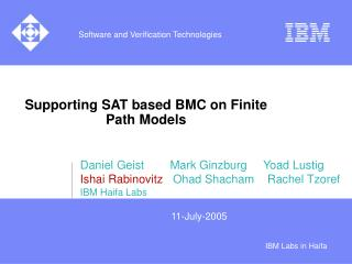Supporting SAT based BMC on Finite Path Models