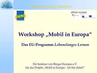 """Workshop """"Mobil in Europa"""" Das EU-Programm  Lebenslanges Lernen"""