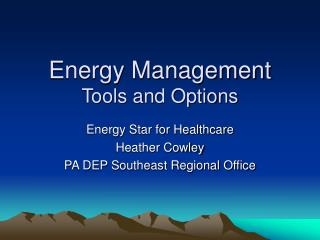 Energy Management  Tools and Options