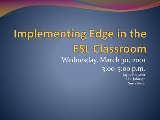 Implementing Edge in the ESL Classroom