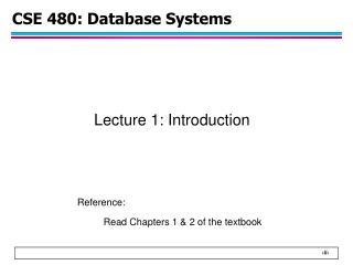 CSE 480: Database Systems