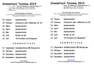 Stammtisch Termine 2014 Verein für Menschen mit Behinderungen e.V .