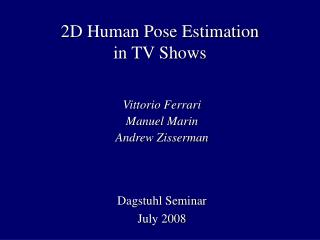 2D Human Pose Estimation in TV Shows