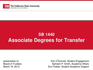 SB 1440 Associate Degrees for Transfer
