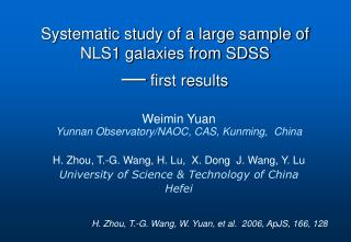 H. Zhou, T.-G. Wang, H. Lu,  X. Dong  J. Wang, Y. Lu University of Science & Technology of China