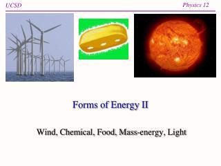 Forms of Energy II