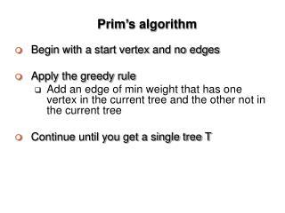 Prim�s algorithm