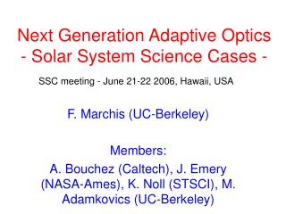 Next Generation Adaptive Optics  - Solar System Science Cases -