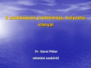A szakk pz s probl m ja, helyzete, ir nyai           Dr. Garai P ter  oktat si szak rto