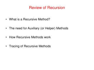 Review of Recursion