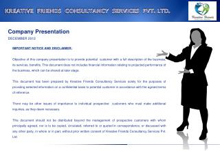 KREATIVE  FRIENDS  CONSULTANCY  SERVICES  PVT. LTD.