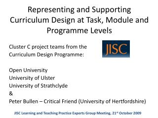 Representing and Supporting Curriculum Design at Task, Module and Programme Levels