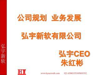 公司规划  业务发展      弘宇新软有限公司                        弘宇 CEO 朱红彬