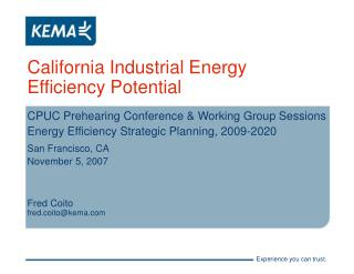 California Industrial Energy Efficiency Potential
