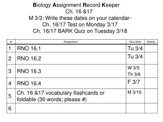 B iology  A ssignment  R ecord  K eeper 				Ch. 16 &17 M 3/3: Write these dates on your calendar-