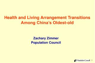 Health and Living Arrangement Transitions Among China�s Oldest-old