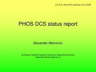 PHOS DCS status report