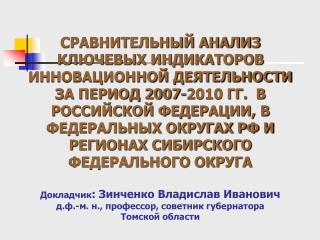 Удельный вес организаций, осуществлявших технологические инновации по округам РФ, %