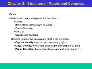 Chapter 3:  Structure of Metals and Ceramics