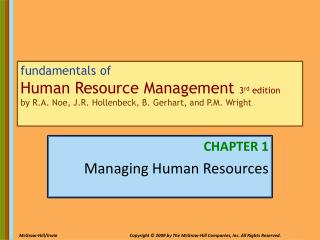 CHAPTER 1 Managing Human Resources