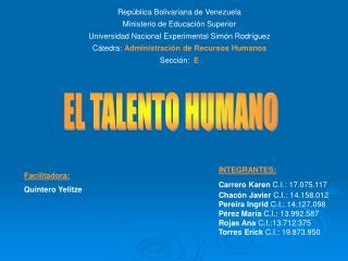 Rep�blica Bolivariana de Venezuela Ministerio de Educaci�n Superior