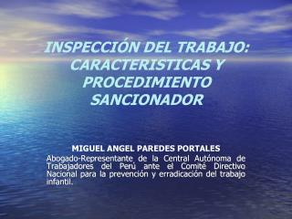 INSPECCI�N DEL TRABAJO:  CARACTERISTICAS Y PROCEDIMIENTO SANCIONADOR
