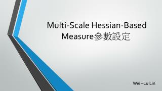 Multi-Scale Hessian-Based  Measure 參數設定